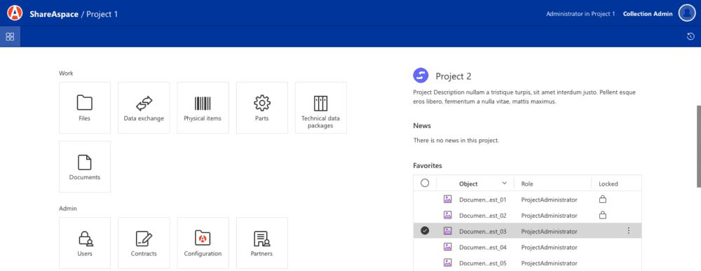 UI of shareaspace cloud design to manufacturing homescreen